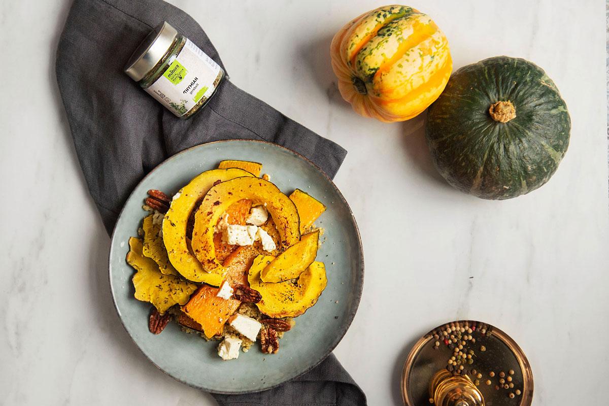 Mabura Rezept Ofenkürbis mit Thymian auf Quinoa